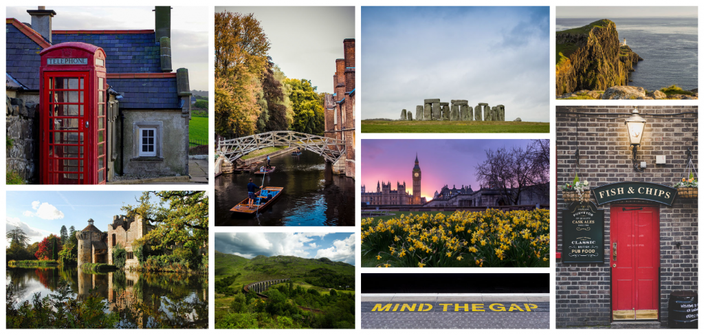 Collage of pictures of England